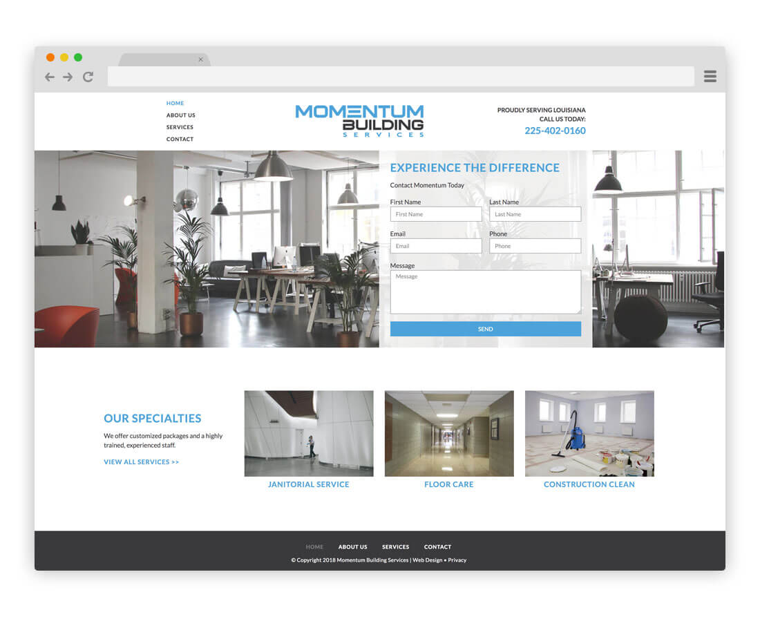 website design for Momentum Building Services in Louisiana