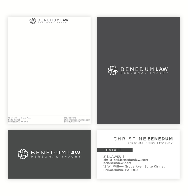 Logo, business card and letterhead design for Benedum Law in Philadelphia by WIcky Design