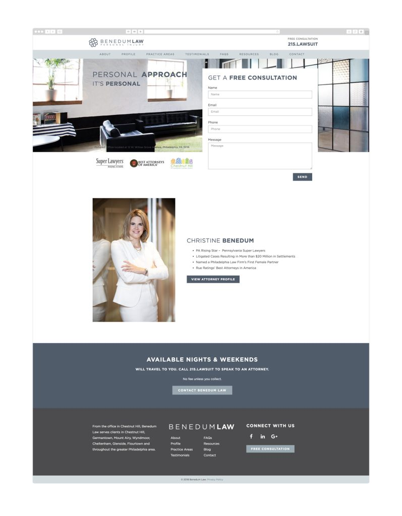 Custom WordPress web design for Benedum Law in Philadelphia by Wicky Design