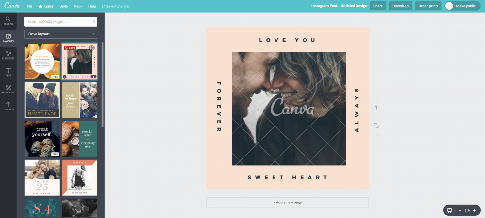 creating images using Canva