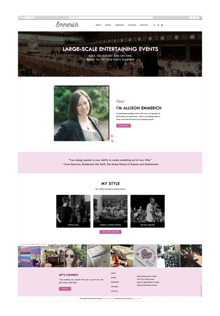 Web design and branding for NYC based event planner Emmerich Events by Wicky Design