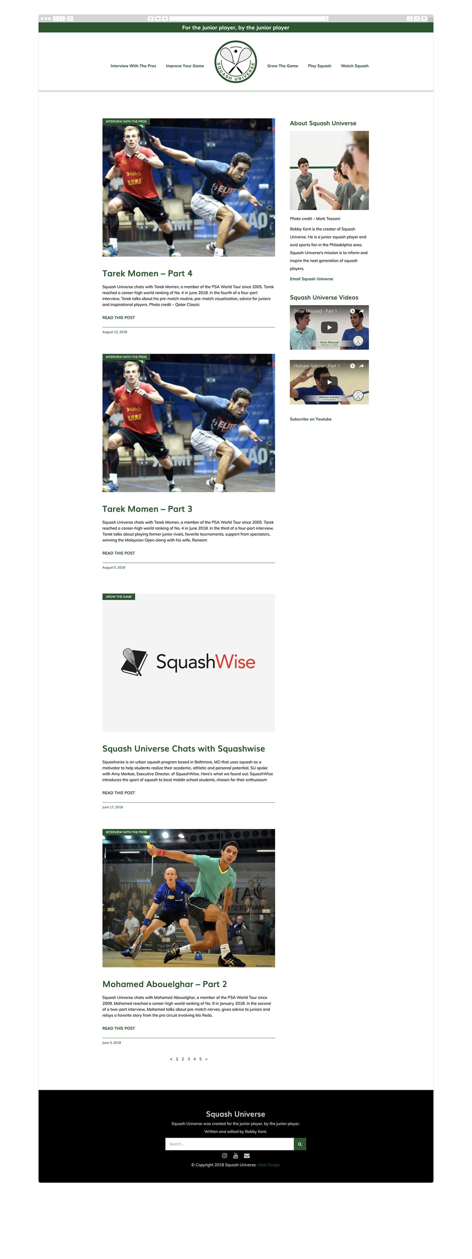 Custom WordPress blog design for Squash Universe by Wicky Design in Philadelphia