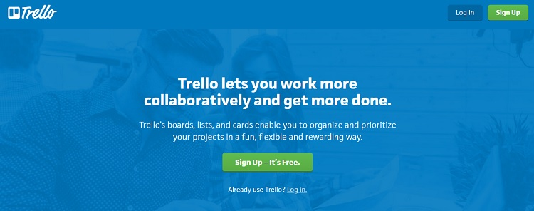 Trello uses a contrasting color for their CTA