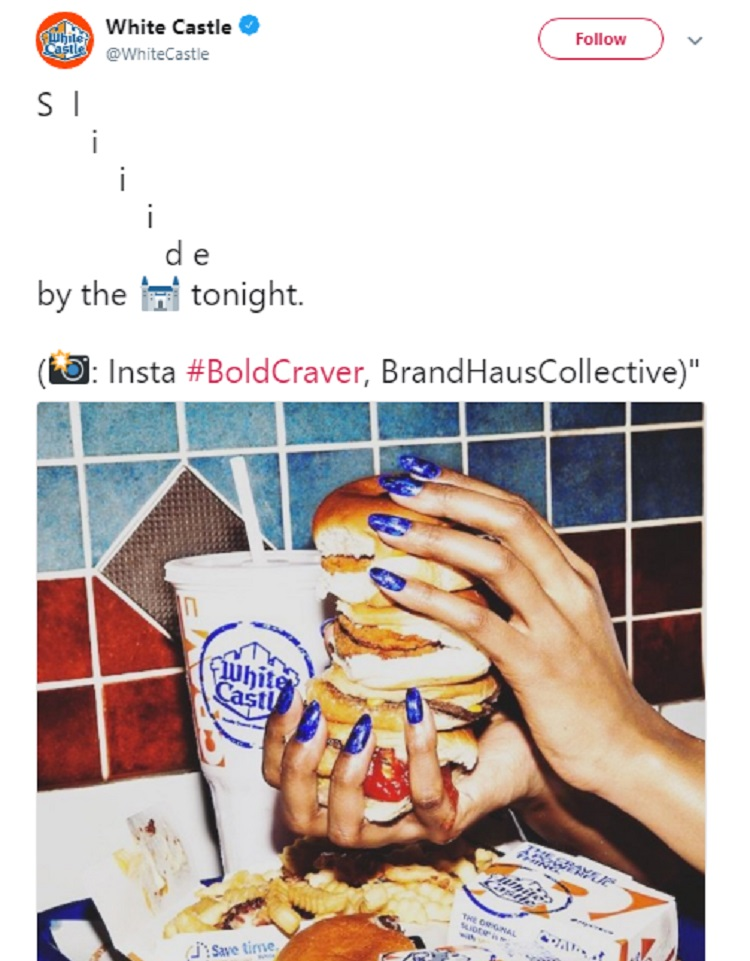 White Castle uses #BoldCraver to brand their business.
