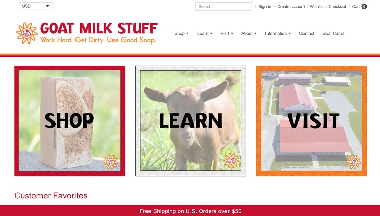 Goat Milk Stuff website layout