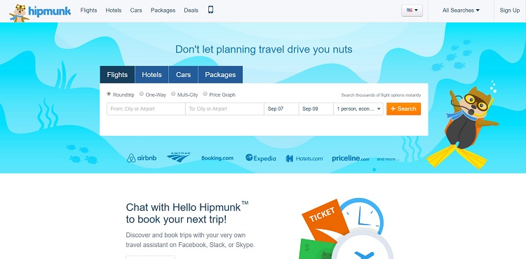 Hipmunk website layout
