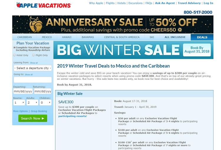 Apple Vacations big winter sale