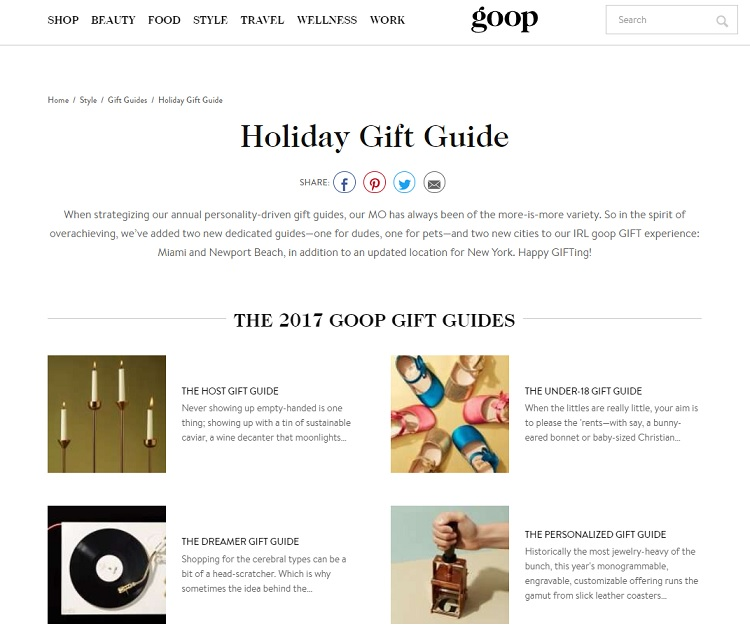 Goop holiday gift guide