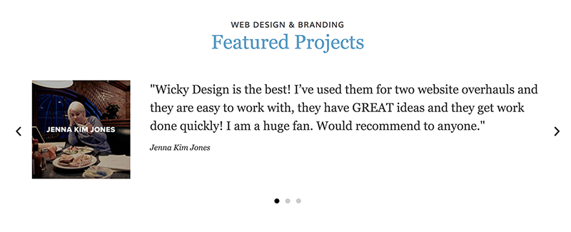 Testimonial slider Wicky Design home page