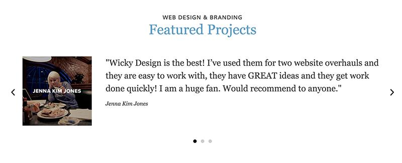 Testimonial slider Wicky Design home page