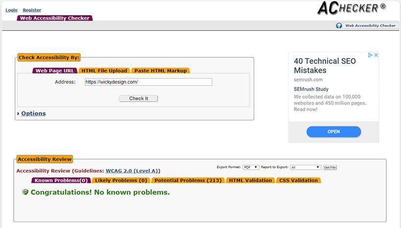 AChecker Online Scan