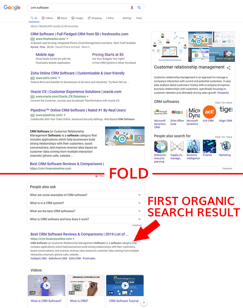 First Organic Search Result