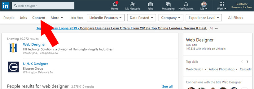 LinkedIn Content Button