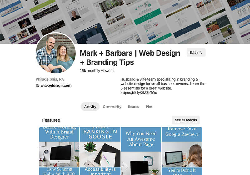 Wicky Design Pinterest Monthly Views