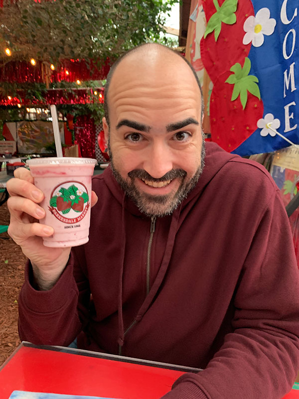 Mark enjoying a Parkesdale Farm milkshake