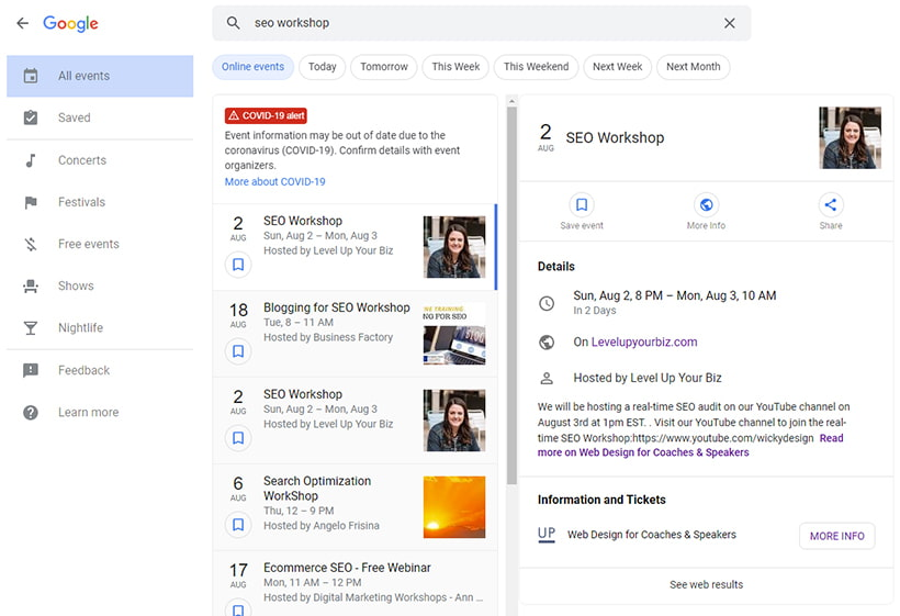 How To Rank Your Online Event On Google