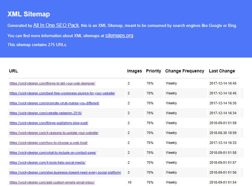 Wicky Design Sitemap Results
