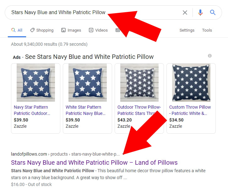 Star Navy Blue and White Patriotic Pillow