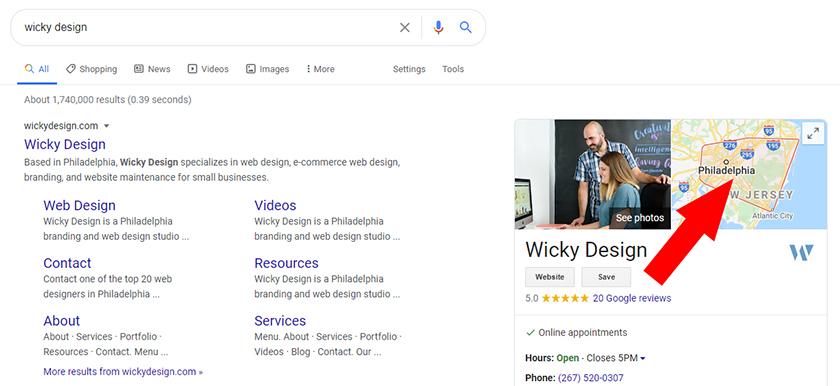 Wicky Design Service Area Google Maps
