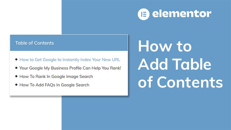 How to Add Table of Contents [Elementor Pro Tutorial]